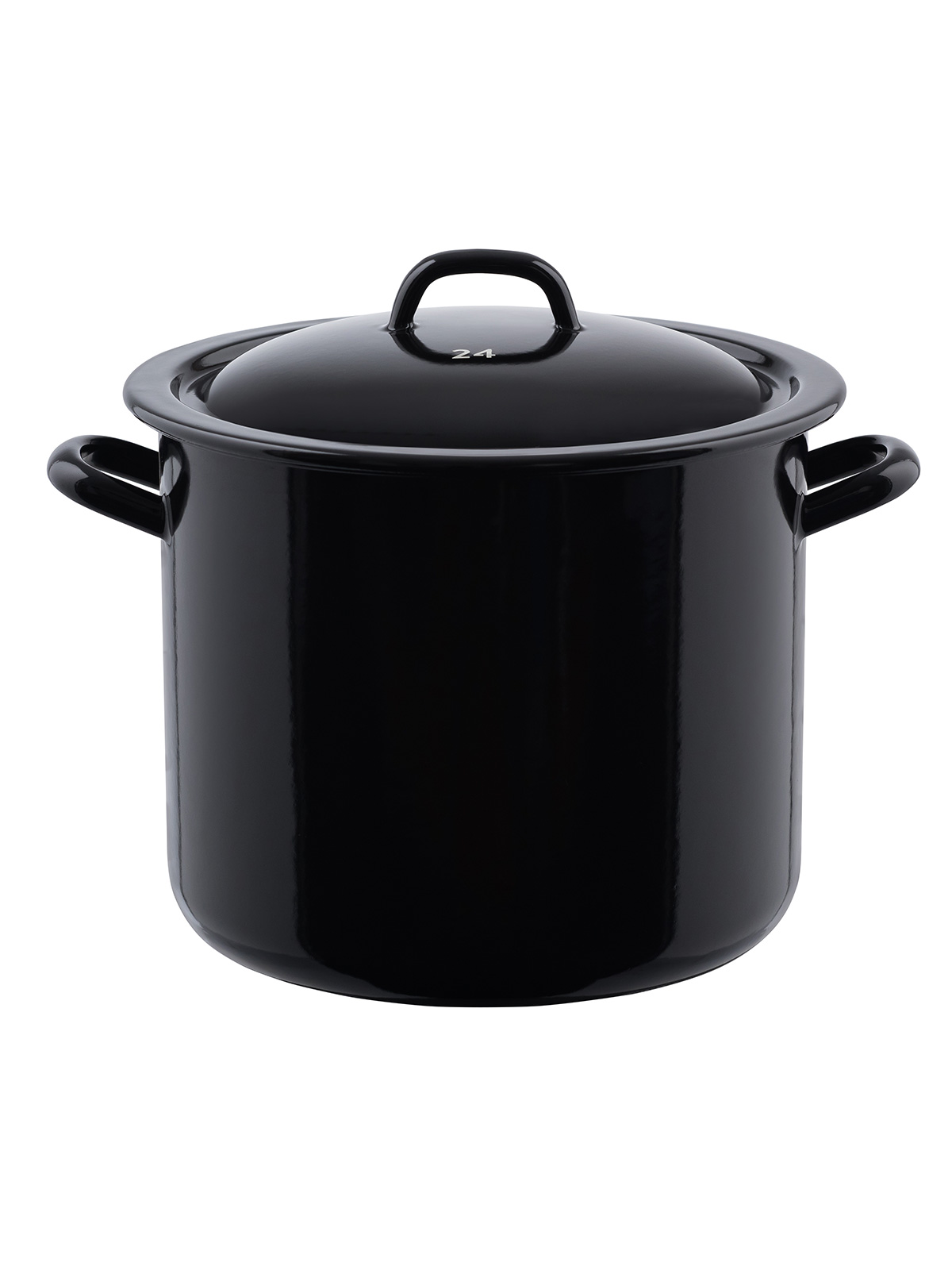 Classic high casserol with cover, black/white 8 liter