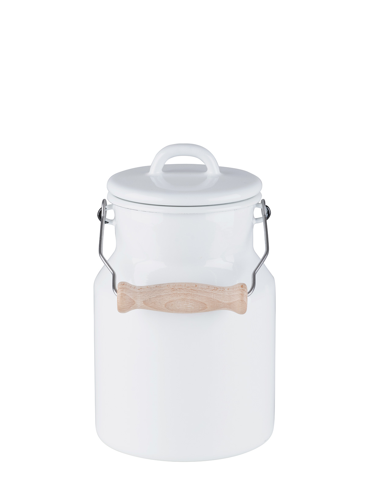 Grandma's Milkcan with enamel lid and wooden handle 1.5L 0457-33